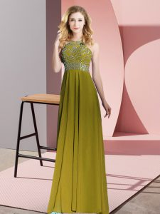 Olive Green Chiffon Backless Graduation Dresses Sleeveless Floor Length Beading