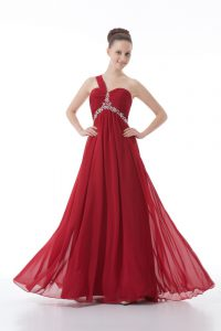 Floor Length Red Graduation Dresses Chiffon Sleeveless Beading and Ruching