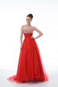 Red Graduation Dresses Tulle Sleeveless Beading