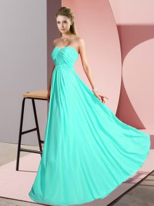 Exceptional Turquoise Empire Ruching Graduation Dresses Lace Up Chiffon Sleeveless Floor Length
