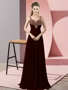 Burgundy Straps Zipper Beading Graduation Dresses Sleeveless