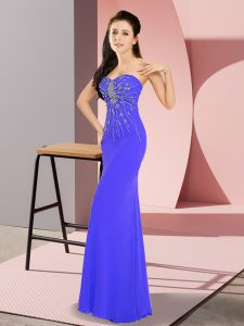 Vintage Sleeveless Chiffon Floor Length Zipper Graduation Dresses in Blue with Beading