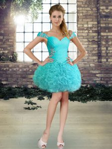 Mini Length Aqua Blue Graduation Dresses Fabric With Rolling Flowers Sleeveless Beading