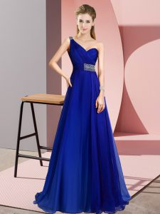 Noble Royal Blue Criss Cross Graduation Dresses Beading Sleeveless Brush Train