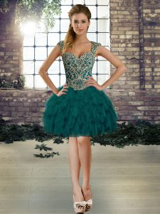 Straps Sleeveless Graduation Dresses Mini Length Beading and Ruffles Dark Green Organza