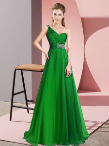 Ideal Green Sleeveless Chiffon Brush Train Criss Cross Graduation Dresses for Prom and Party