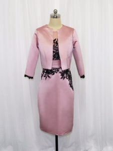 Luxurious Pink Long Sleeves Lace and Appliques Mini Length Graduation Dresses