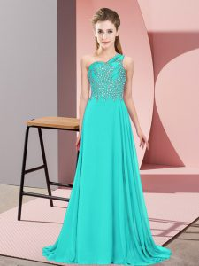 Traditional Turquoise Chiffon Side Zipper Graduation Dresses Sleeveless Floor Length Beading