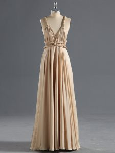 Champagne Chiffon Criss Cross Straps Sleeveless Floor Length Graduation Dresses Ruching