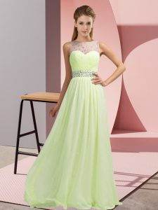 Nice Empire Teens Party Dress Yellow Green Scoop Chiffon Sleeveless Floor Length Backless