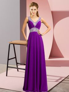 Affordable Purple V-neck Neckline Beading Graduation Dresses Sleeveless Lace Up