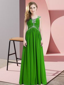 Chiffon Cap Sleeves Floor Length Graduation Dresses and Beading
