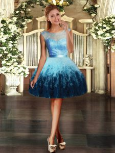 Graceful Mini Length Backless Graduation Dresses Multi-color for Prom and Party with Lace and Ruffles