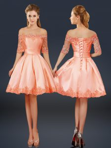 Off The Shoulder Half Sleeves Graduation Dresses Mini Length Lace and Appliques Peach Satin