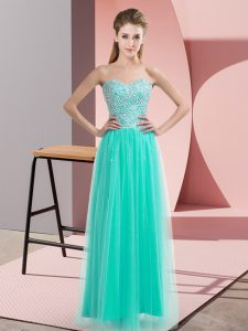 High End Turquoise Empire Tulle Sweetheart Sleeveless Beading Floor Length Lace Up Graduation Dresses