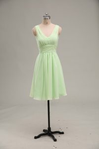 Fine Mini Length Yellow Green Graduation Dresses Chiffon Sleeveless Ruching