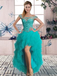 Captivating High Low Lace Up Graduation Dresses Turquoise for Prom and Party with Beading and Ruffles
