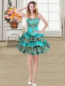 Stylish Ball Gowns Graduation Dresses Teal Sweetheart Taffeta Sleeveless Mini Length Lace Up