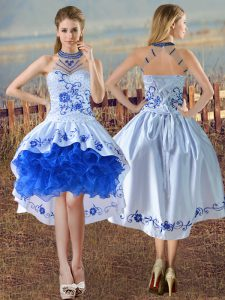 Ideal Blue And White Ball Gowns Satin and Organza Halter Top Sleeveless Embroidery and Ruffles Lace Up Graduation Dresses