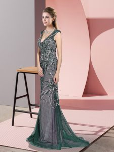 New Style Zipper Graduation Dresses Peacock Green for Prom and Party with Beading Sweep Train