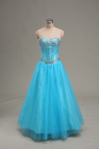 Sleeveless Lace Up Floor Length Beading Graduation Dresses