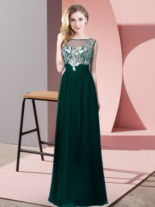 Spectacular Peacock Green Chiffon Backless Graduation Dresses Sleeveless Floor Length Beading