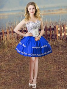 Extravagant Sleeveless Mini Length Embroidery Lace Up Graduation Dresses with Blue And White