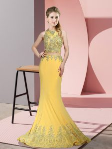 Deluxe Gold High-neck Neckline Beading and Appliques Graduation Dresses Sleeveless Zipper
