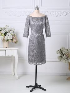 Customized Grey Lace Zipper Graduation Dresses Half Sleeves Knee Length Lace