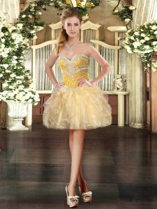 Smart Organza Sleeveless Mini Length Graduation Dresses and Beading and Ruffles