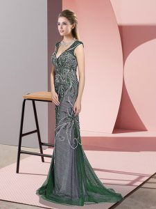 Modest Dark Green Zipper V-neck Beading Graduation Dresses Tulle Sleeveless Sweep Train