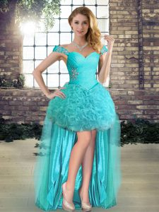 Aqua Blue Sleeveless Fabric With Rolling Flowers Lace Up Graduation Dresses for Prom and Party