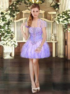Clearance Lavender Ball Gowns Strapless Sleeveless Organza Mini Length Lace Up Beading and Lace and Ruffles Graduation Dresses