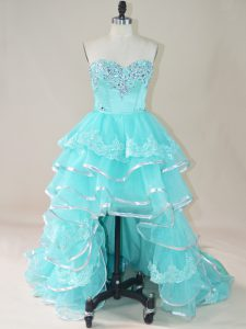 Aqua Blue Lace Up Graduation Dresses Beading and Lace and Ruffled Layers Sleeveless High Low