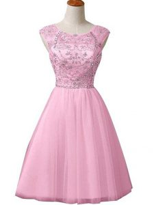 A-line Graduation Dresses Baby Pink Scoop Tulle Sleeveless Mini Length Zipper