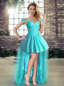 Suitable Aqua Blue Sleeveless High Low Beading Lace Up Graduation Dresses