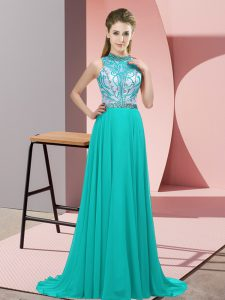 Suitable Halter Top Sleeveless Brush Train Backless Graduation Dresses Turquoise Chiffon