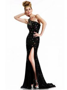 New Style One Shoulder Sleeveless Graduation Dresses Beading Brush Train Backless