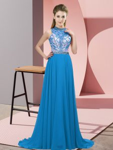 Exceptional Blue Sleeveless Beading Backless Graduation Dresses