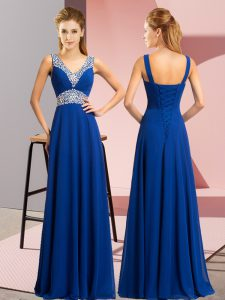 Vintage Royal Blue Chiffon Lace Up V-neck Sleeveless Floor Length Graduation Dresses Beading