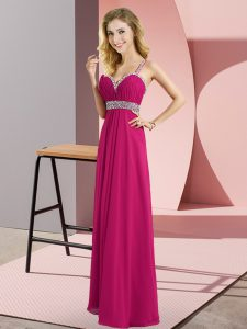 New Style Straps Sleeveless Criss Cross Graduation Dresses Fuchsia Chiffon