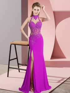 Suitable Fuchsia Sleeveless Lace and Appliques Floor Length Graduation Dresses