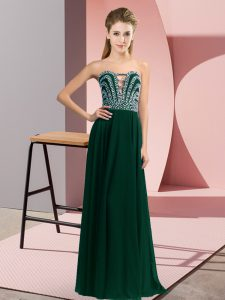 Peacock Green Lace Up Sweetheart Beading Party Dresses Chiffon Sleeveless