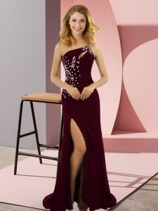 Stunning Sweep Train Column/Sheath Graduation Dresses Burgundy One Shoulder Elastic Woven Satin Sleeveless Lace Up