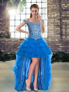 Fancy High Low Blue Graduation Dresses Tulle Sleeveless Beading and Pick Ups