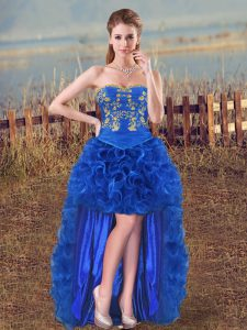 Royal Blue Lace Up Graduation Dresses Embroidery and Ruffles Sleeveless High Low