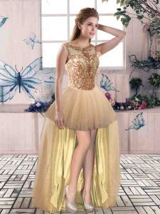 High Low Champagne Graduation Dresses Tulle Sleeveless Beading