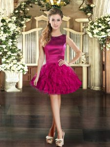 Fuchsia Lace Up Graduation Dresses Ruffles Sleeveless Mini Length