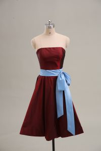 Wine Red Graduation Dresses Prom and Party and Military Ball with Sashes ribbons Strapless Sleeveless Zipper