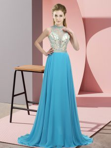 Cheap Sleeveless Chiffon Brush Train Backless Graduation Dresses in Aqua Blue with Beading